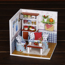 DIY Doll House Miniature Casa With Furnitures 3D Model Dollhouse Wooden Handmade Gift Toys For Children Warm Memories M004 #E недорого