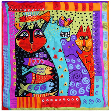 Pure Silk Women Scarf Rainbow Cats Printing Echarpes Foulards Femme Square Bandana Neck Scarves Hijab 53*53CM ZS5045
