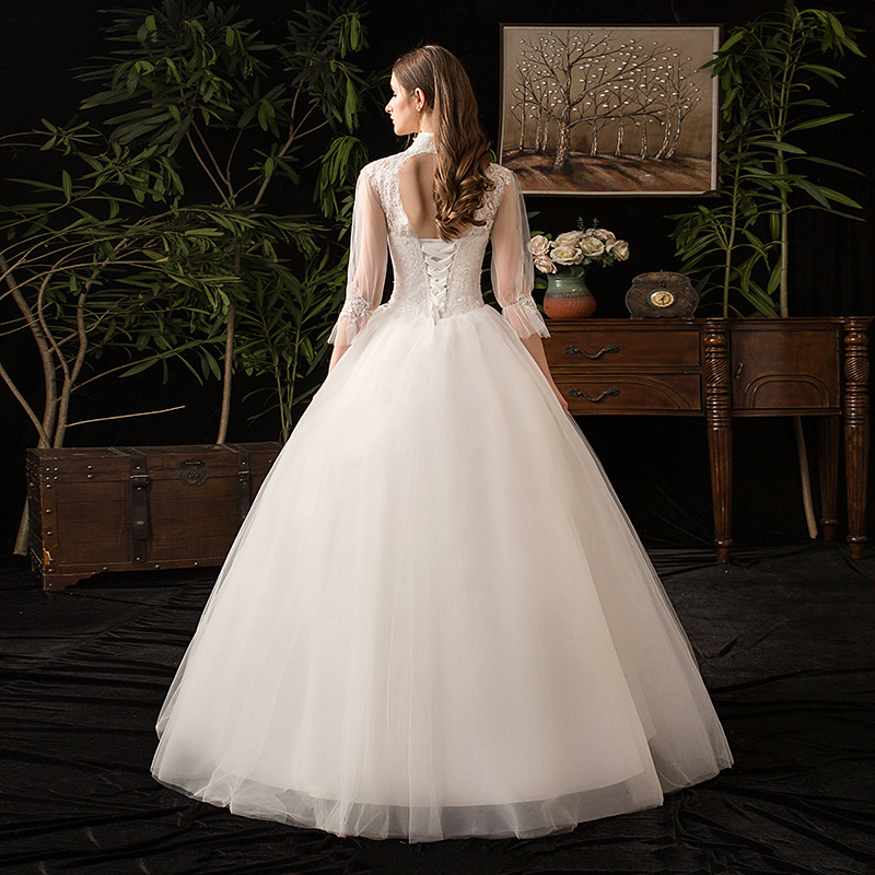 2019 New High Neck Three Quarter Sleeve Wedding Dress Sexy Illusion Lace Applique Plus Size Vintage Bridal Gown Robe De Mariee L
