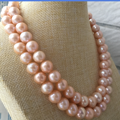 single strands 12-13mm south sea gold pink pealr necklace 32inch >Selling jewerly free shipping