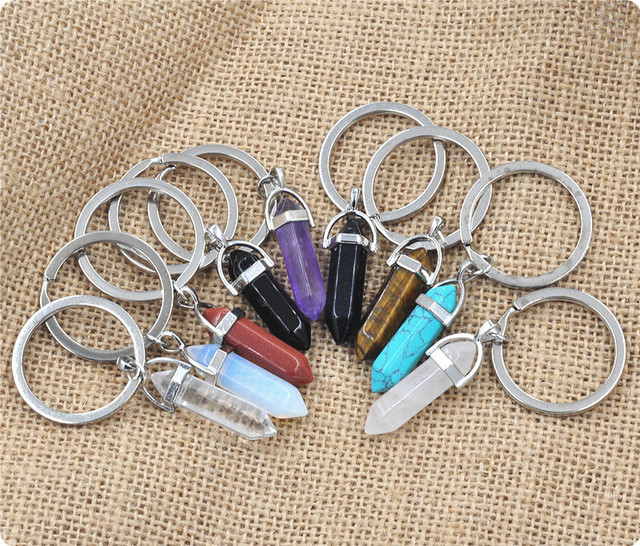 1 PC Fashion Natural Stone Pendant Keychain Natural Quartz Stone Key Rings Pink Crystal Key Chains Accessories Jewelry Gift 1