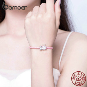 Image 4 - bamoer Pink Ladybug Insert and Flower Beads Silver Charm for Women Leather Bracelet Sterling Silver 925 Luxury Jewelry SCB823