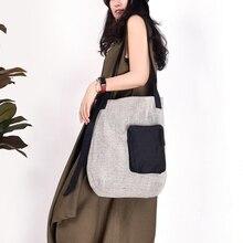 Женская Льняная сумка, прошитая Повседневная тканевая сумка, винтажная сумка через плечо, холщовые сумки ручной работы
