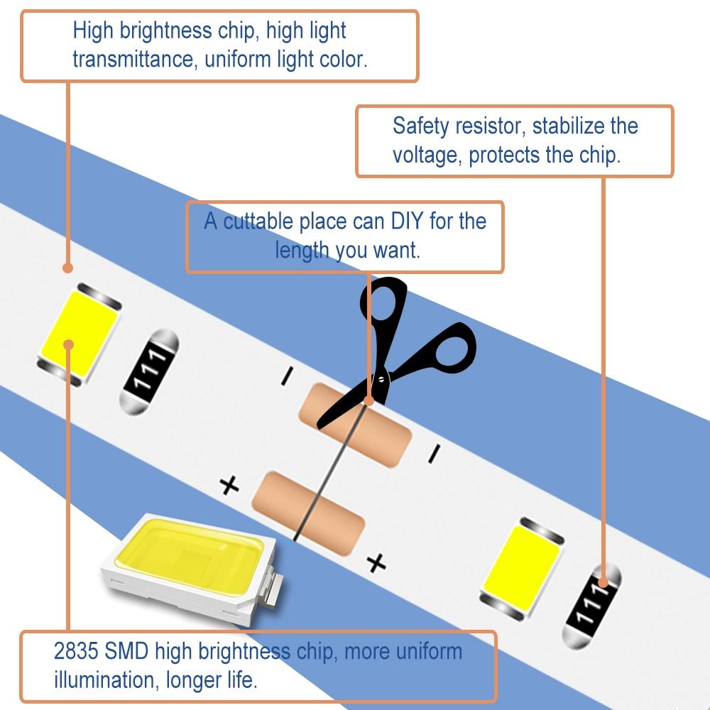 USB DC 5V Strip Light Led Lamp Tape 2835 5M Flexible Tira Led Strip Neon Light Ribbon Fita Led TV Background Decoration Lighting