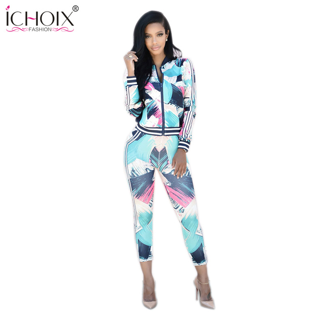 ICHOIX Fashion Style Women Piece Sexy Sportswear Printing  Two Piece Set Sexy Rompers Crop Top and Pants Set Jumpsuits Bodycon