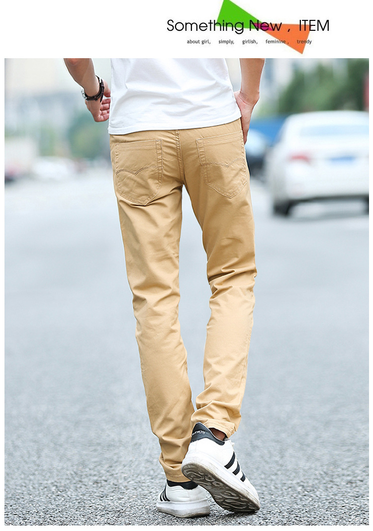 Business Casual Pants 11 Colors New Casual Pencil Pants Men Slim Pant Straight Trousers Solid Leisure Zipper Spring Summer k919 20