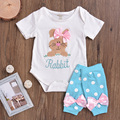 Happy Easter Bunny Baby Clothing Set Kawaii Bow Tie Baby Romper Jumpsuit Summer Rabbit Newborn Infant Girl Outfits Clothes