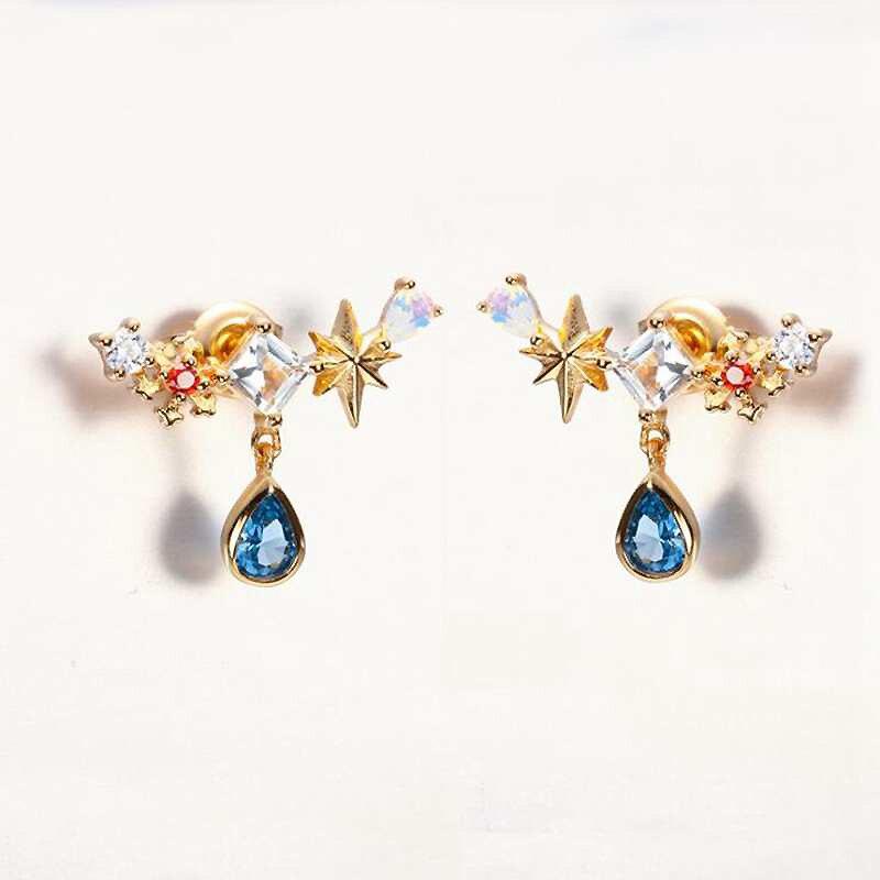 Ruifan Teardrop Colorful CZ Zircon Blue Stone Stud Earrings for Women 14k Gold 100% 925 Silver Earrings Wedding Jewelry YEA110 pair of zircon gold plated stud earrings