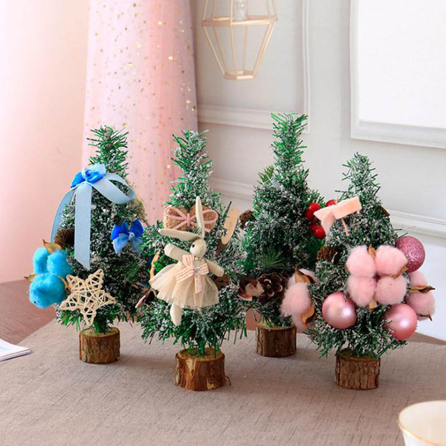 1pc 4 colors 20cm mini christmas trees decorations small pine tree placed in the desktop festival