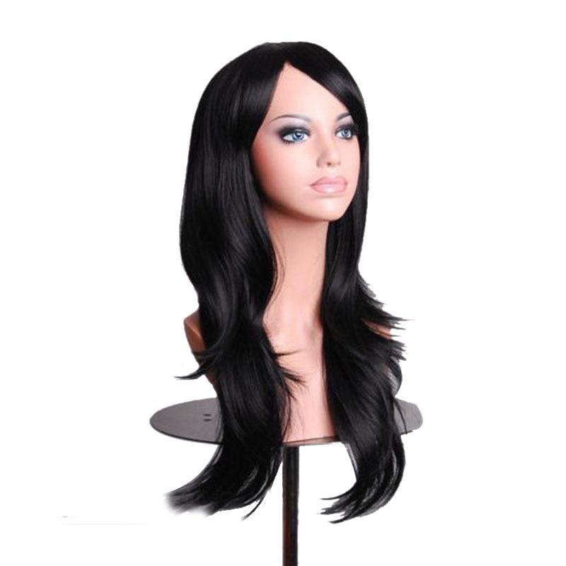 70cm 10 färger kvinnor dam långt långt hår peruk lockigt vågigt - Syntetiskt hår - Foto 1