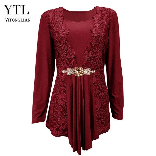 999039a93b US $17.07 39% OFF YTL Plus Size Women Blouse Elegant Diamond Lace Tunic Top  Casual Vintage Tops Long Sleeve Shirt Red Black XXL XXXL 4XL 8XL H025-in ...