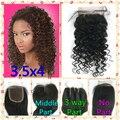 8A + Oriente 3 Way Parte Brasileiro cabelo Virgem Fechamento Onda Profunda Fechamento cabelo Fechamentos Rendas 3.5x4 Branqueada Knots Cabelo Humano Top fechamento