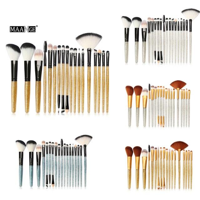 MAANGE 18 piezas Pro pinceles de maquillaje conjunto de sombra de ojos corrector Foudation cepillo de fibra de Nylon brillo polvo manejar cosméticos herramienta
