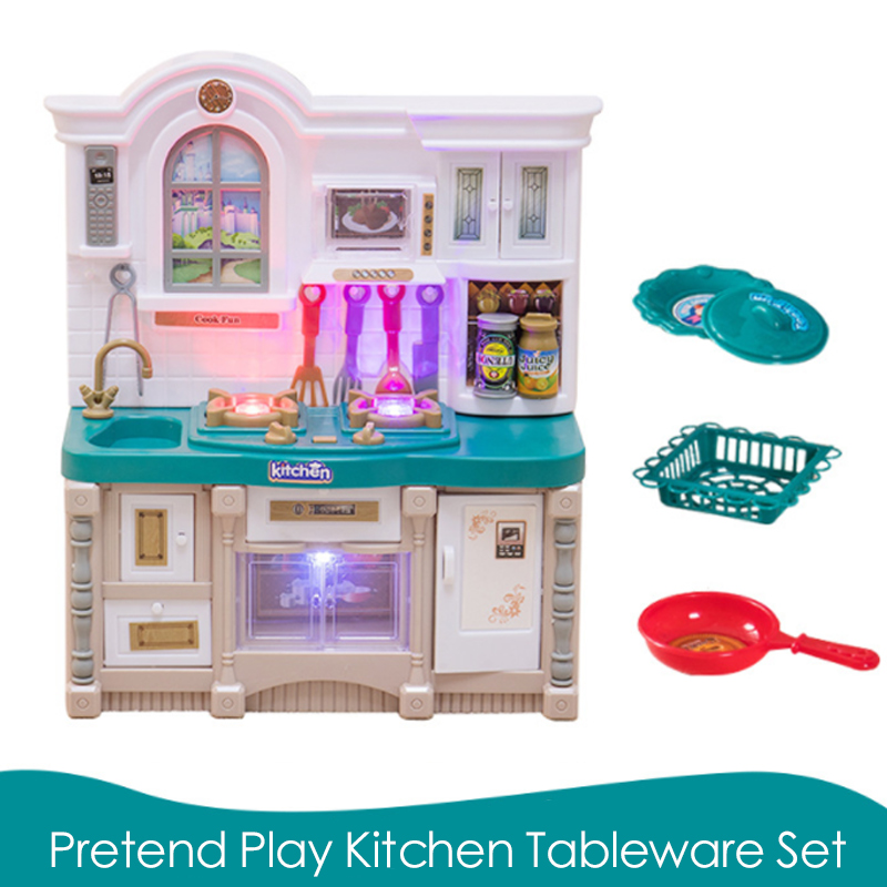 New 1 Pcs/Set Baby Miniature Kitchen Plastic Pretend Play Sound Kitchen Food Cooking Tableware Toy Set For Girl Game Gift D74
