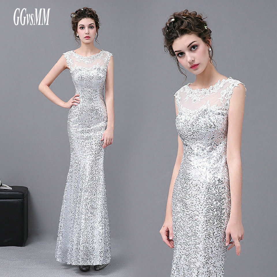 Sexy Silver Mermaid Evening Dresses Long 2018 Cheap Evening Gown