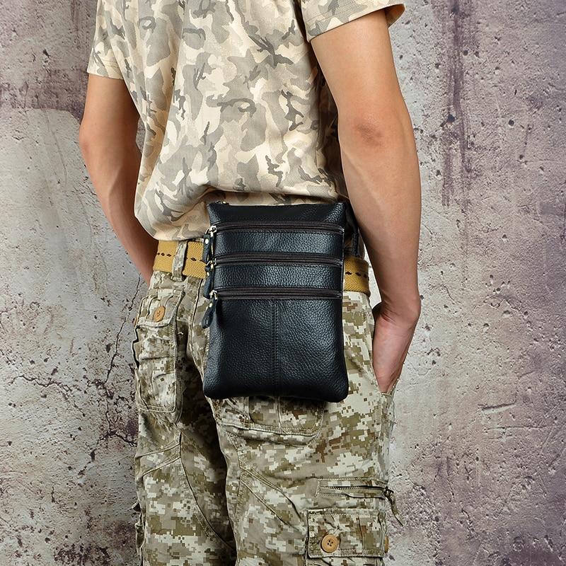 Mode äkta läder multifunktion casual midja pack 8