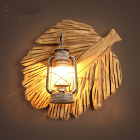 Vintage Retro Coutry Hand Crafted Wood Iron Lantern E27 Wall Lamp For Coffee Bar Restaurant Living Room Deco 2207