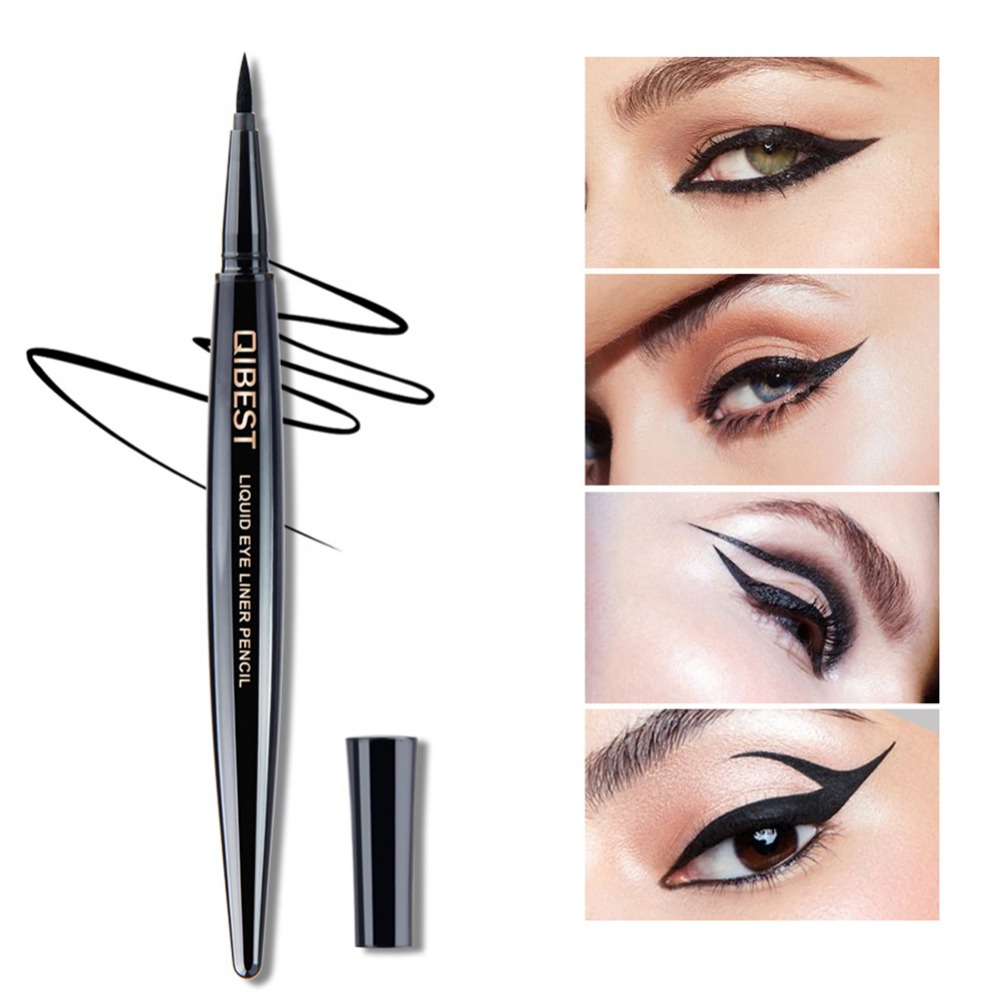 Qibest Black Liquid Eyeliner Pencil Waterproof Eye Liner Long Lasting Thin Lines Cosmetic Quick-dry Beauty Makeup Tools