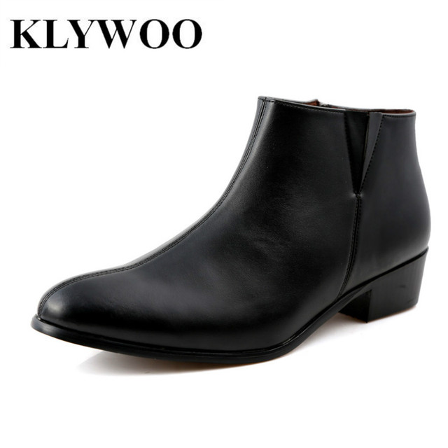 KLYWOO Brand Spring Autumn Fashion Men Boots Leather Casual Men Winter Boots For Men Ankle Boots Leather Cowboy Boots Black