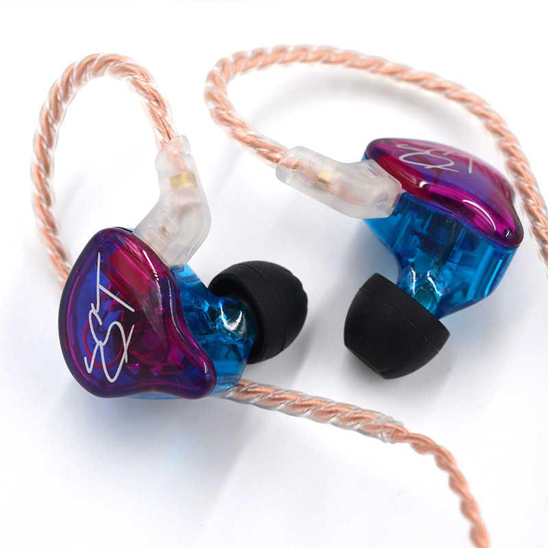 KZ ZST DD + BA ciężki zestaw słuchawkowy ze wzmocnieniem basów słuchawki hi-fi żelazko 4 rdzeń sterowania muzyka wymiana ruchu kabel Bluetooth ZSN AS10 ES4