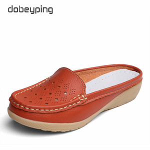 Image 3 - dobeyping Cut Outs Summer Woman Shoes Genuine Leather Women Flats Hollow Womens Loafers  Soft Mother Moccasin Shoe Size 35 41