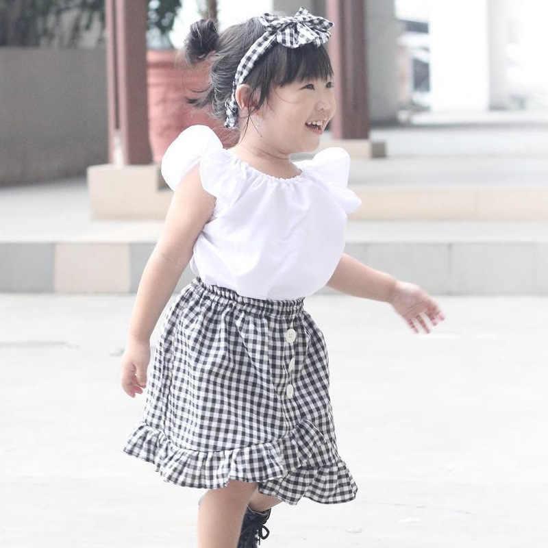 幼児子供セット飛行トップス tシャツ + チェック柄スカート女の赤ちゃんの服 2019 夏新しい子供服