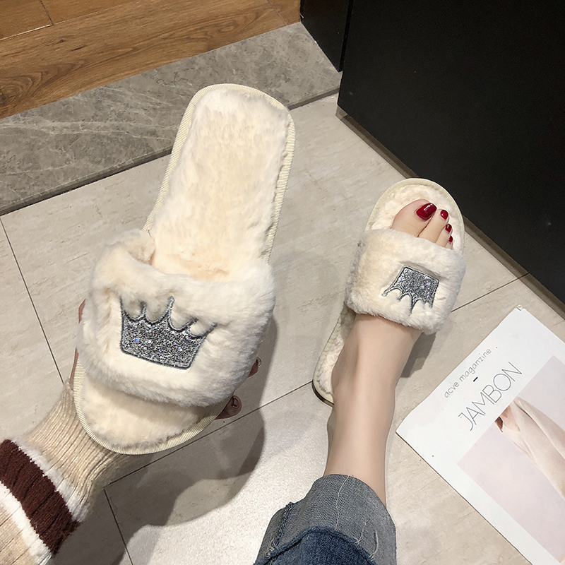 Rimocy Cute Plush Glitter Fur Slippers Women Bling Flat Slides 2019 Winter Casual Comfortable Shoes Woman Crown Warm Slippers