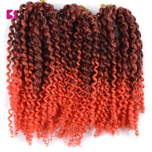 SAMBRAID Afro Kinky Curly Bulk Synthetic Hair 8 Inch 3 Pieces/set Crochet Extensions Marlybob Braiding