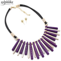 Fashion Black Rope Chain Necklace Vintage Wholesale Choker Necklace 2017 Bohemian Big Statement Power Maxi Necklace