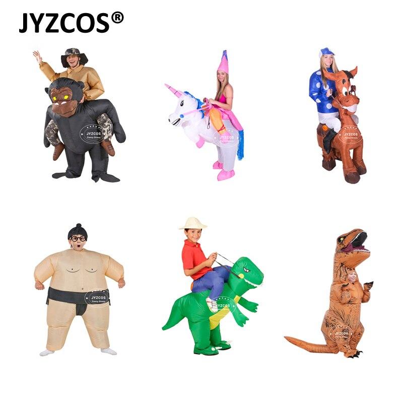 JYZCOS Funny Adult nafukovací jízda Gorilla kostým King Kong Chimpanzee Halloween Karneval Purim Cosplay Suit Illusion Outfit