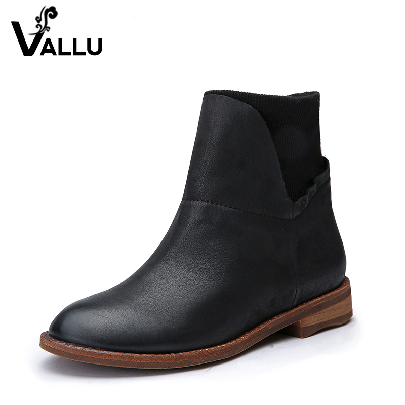 2018 Genuine Leather Women Boots Flat Heel Vintage Handmade Women Shoes Ankle Boots 2018 genuine leather women boots flat heel vintage handmade women shoes ankle boots