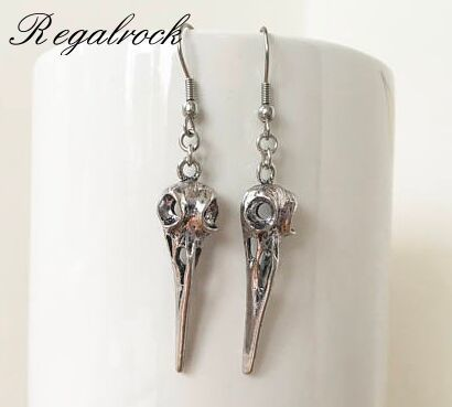 Pagan necklace and earrings with bird skulls