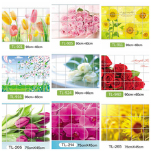 Home Decoration Accessories Waterproof Aluminum Foil Wall Sticker Tiled Kitchen Bathroom Wall Decoration Tulip Flower Rose(China)