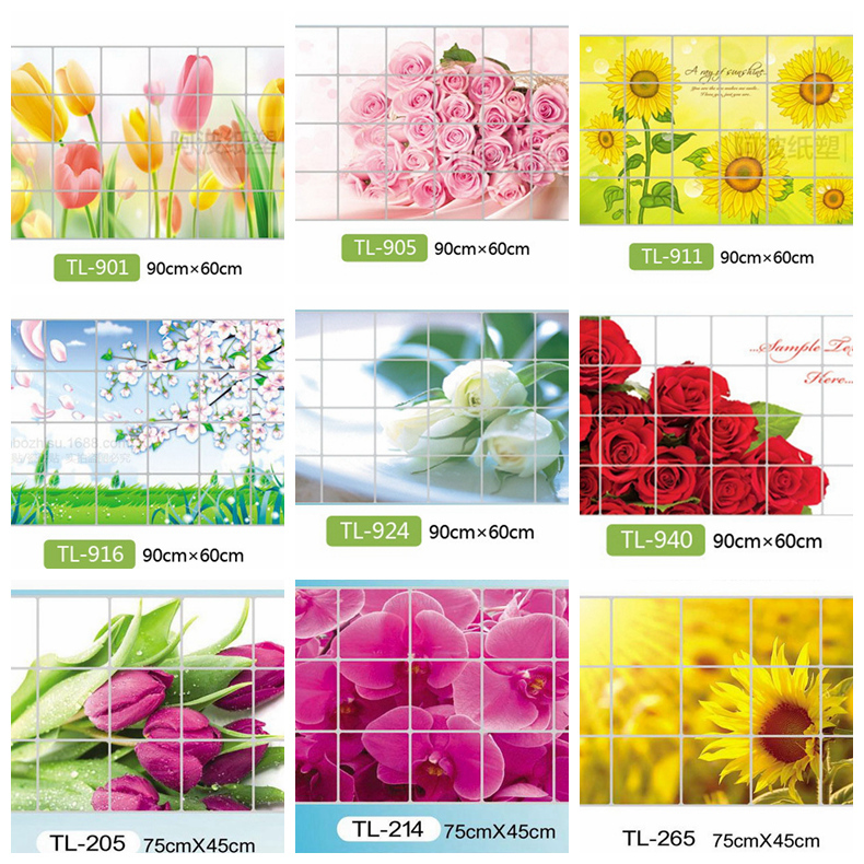 Zs Sticker Home Decoration Accessories Waterproof Aluminum Foil Sticker Tile Kitchen Bathroom Wall Decoration Tulip Flower Rose