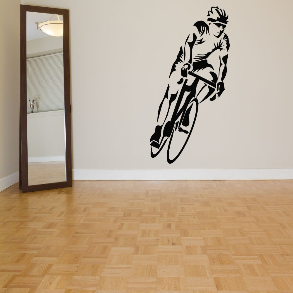 Cycling sticker bicycle bike decal muurstickers posters for Custom vinyl mural prints