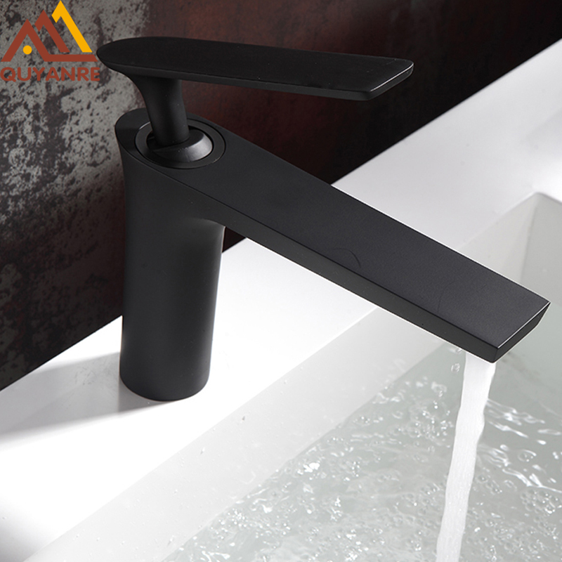 Quyanre Matte Black Gold Brass Basin Faucet Hot Cold Water Mixer Tap Chrome Bathroom Toilet Sink Faucet Tap Torneira Banheiro bathroom products soild brass gold finish sink faucet single lever black waterfall tap tall water mixer torneira banheiro