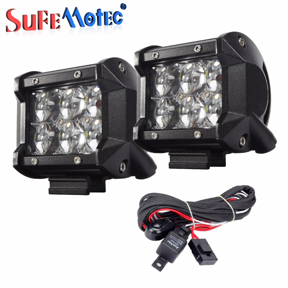 2PCS 4 18W 30W 3D 4D 5D LED Work Light SUV ATV 4X4 Driving Light Bar For Offroad Car Motorcycle Fog Lamp with Wire Harness Kit