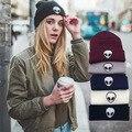 Amercian Street Style Cool Alient Print Beanies Hip Hop Knitted Bonnet Black Grey Warmer Winter Gorro Unisex