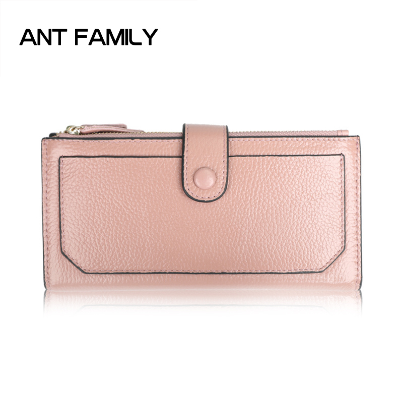 Genuine Leather Wallet Women Luxury Brand Long Zipper Coin Purse Female Fashion Clutch Cowhide Leather Wallet Large Capacity