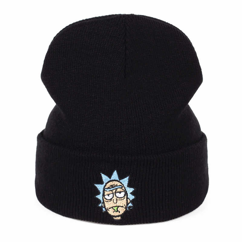 Rick Beanies Rick and Morty Hats Elastic Brand Embroidery Warm Winter Unisex Knitted Hat Skullies US Animation Ski Gorros Cap