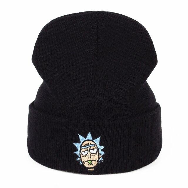 """בימס ריק ריק ו Morty Skullies כובעי אלסטיות רקמת מותג החורף חם כובע סרוג לשני המינים כובע סקי Gorros אנימציה בארה""""ב"""