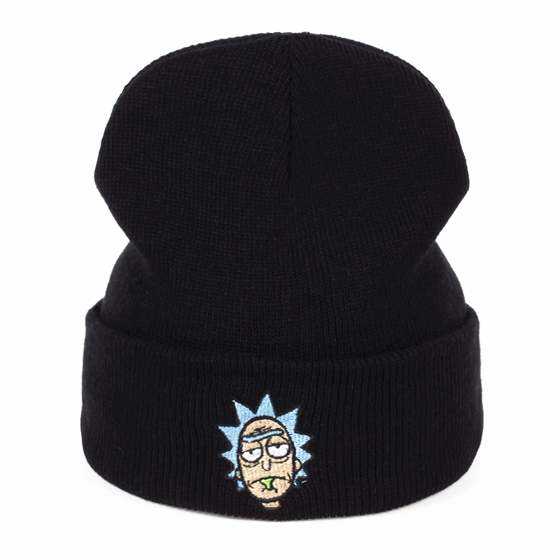 Knitted Hat Beanies Morty-Hats Embroidery Skullies Animation Rick Warm Winter Unisex title=