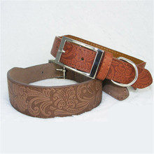 Fashion PU Leather Dog Collar Flower Design Simple Pet for Medium and Big Size Supplies Accessories(brown)