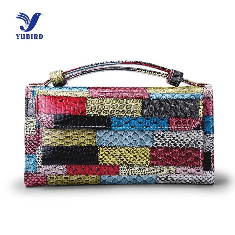 2018 Fashion Wallet Women Purse Handbag Patchwork Female Colorful Phone Wallet Genuine Leather Ladies Shoulder Bag