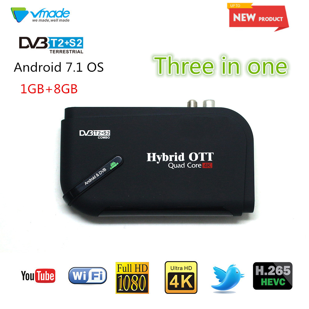 2018 Vmade New HD Digital DVB T2 S2&Android TV Box Android 7.1 Amlogic S905D 1GB 8GB H.265 Support WIFI and YouTube TV Receiver