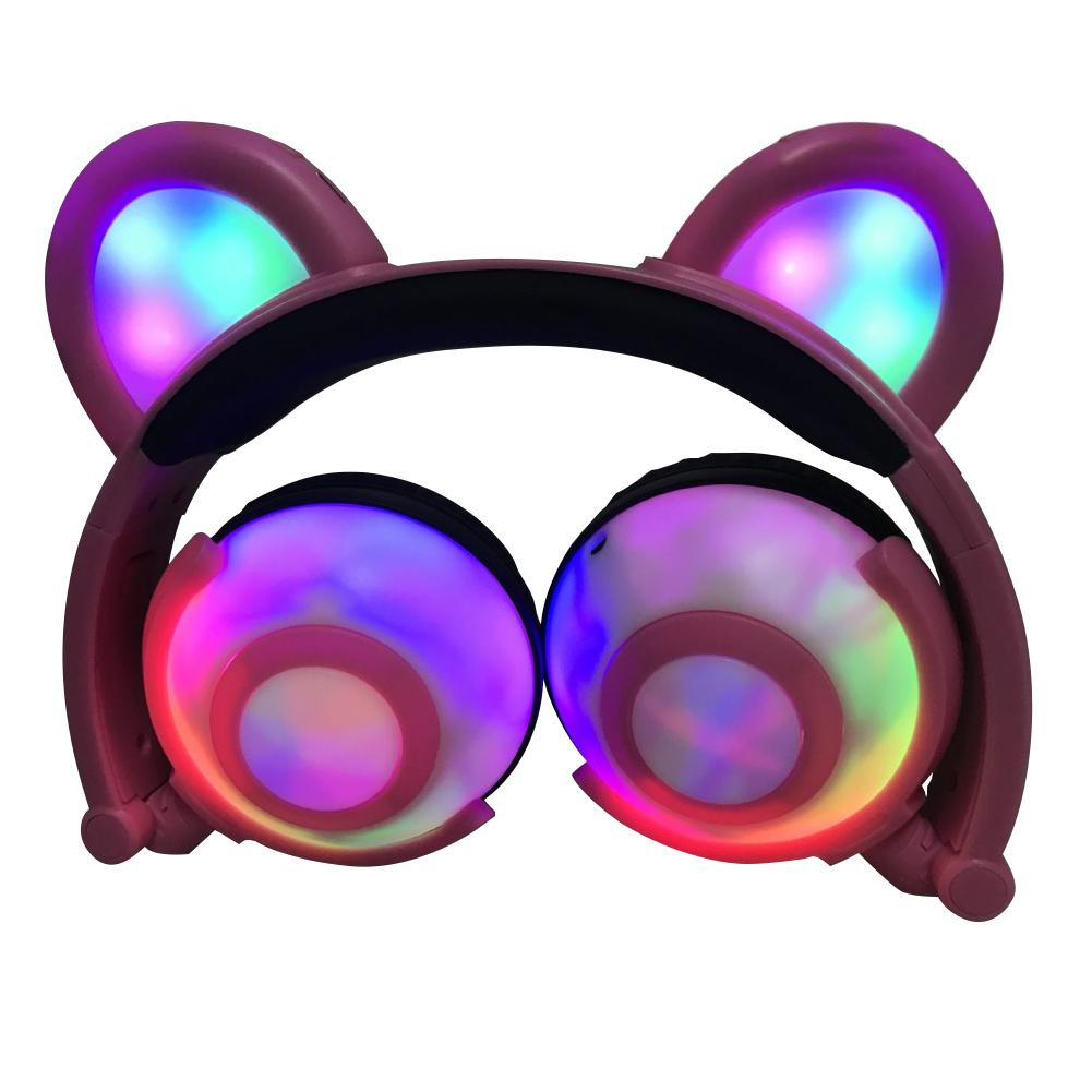 New Cute Bear Ears LED Glowing Headphone Foldable Headset Earphone for Phone Tablet
