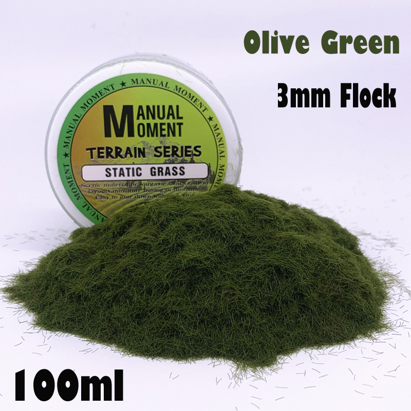 Miniature Scene Model Materia Olive Green Turf Flock Lawn Nylon Grass Powder STATIC GRASS 3MM Modeling Hobby Craft  Accessory