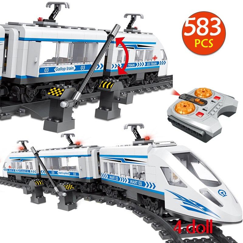 583pcs Technic RC Building Blocks Compatibe City Remote Control Railway Station Rail Train Blocks Toys For