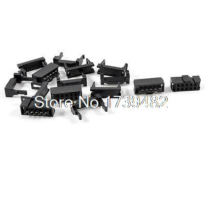 5 x 2.54mm Pitch Female <font><b>10</b></font> <font><b>Pins</b></font> 10P <font><b>Flat</b></font> <font><b>Cable</b></font> IDC Socket Connector Black image