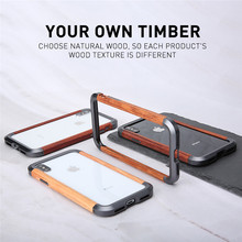 R-just Luxury Classic Retro Aluminum + Wood Shockproof Frame For Apple Iphone X Xs Max Metal Log Protection Phone Cases Bumper